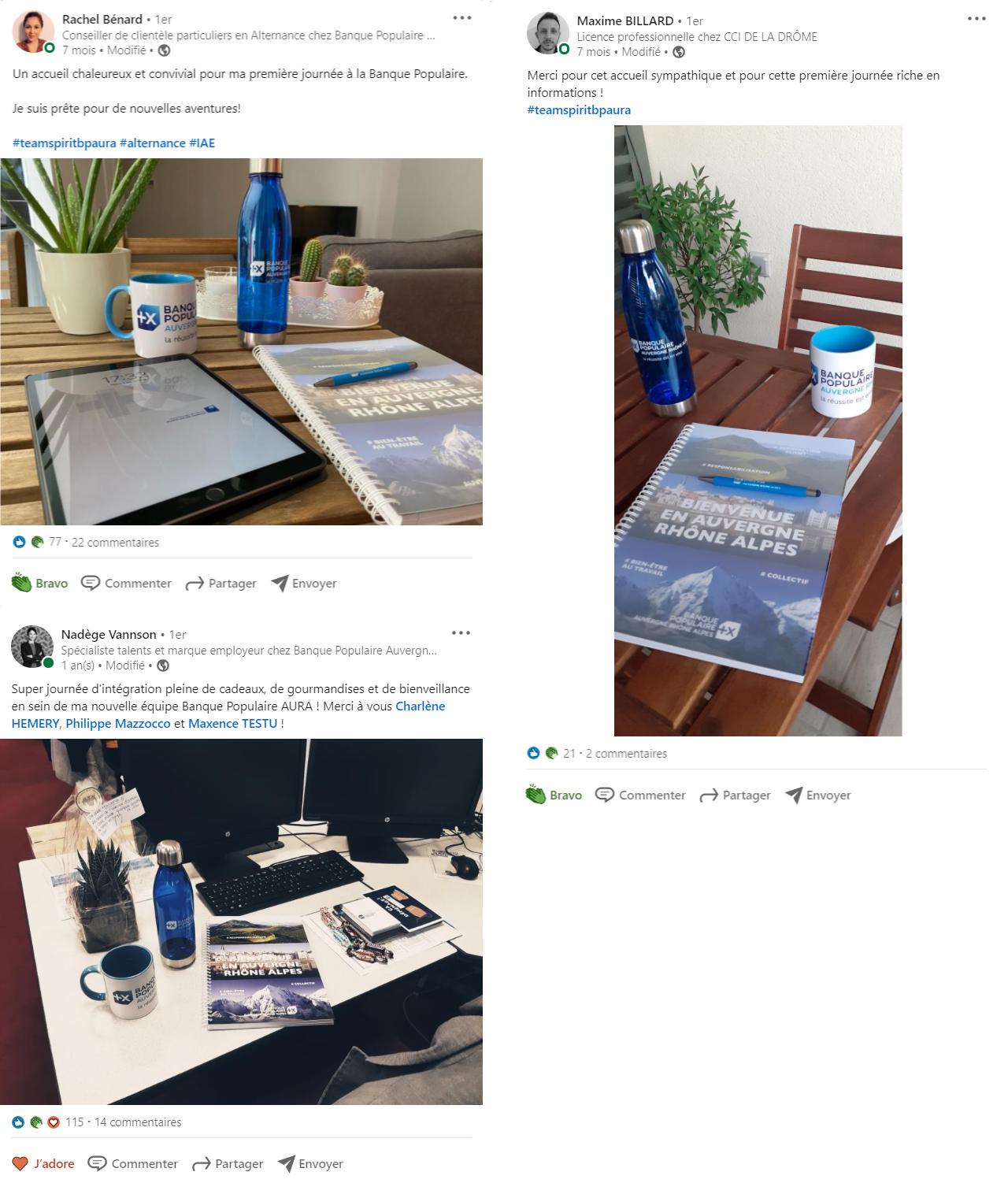 Posts LinkedIn de kit de bienvenue - Banque populaire auvergne rhône alpes